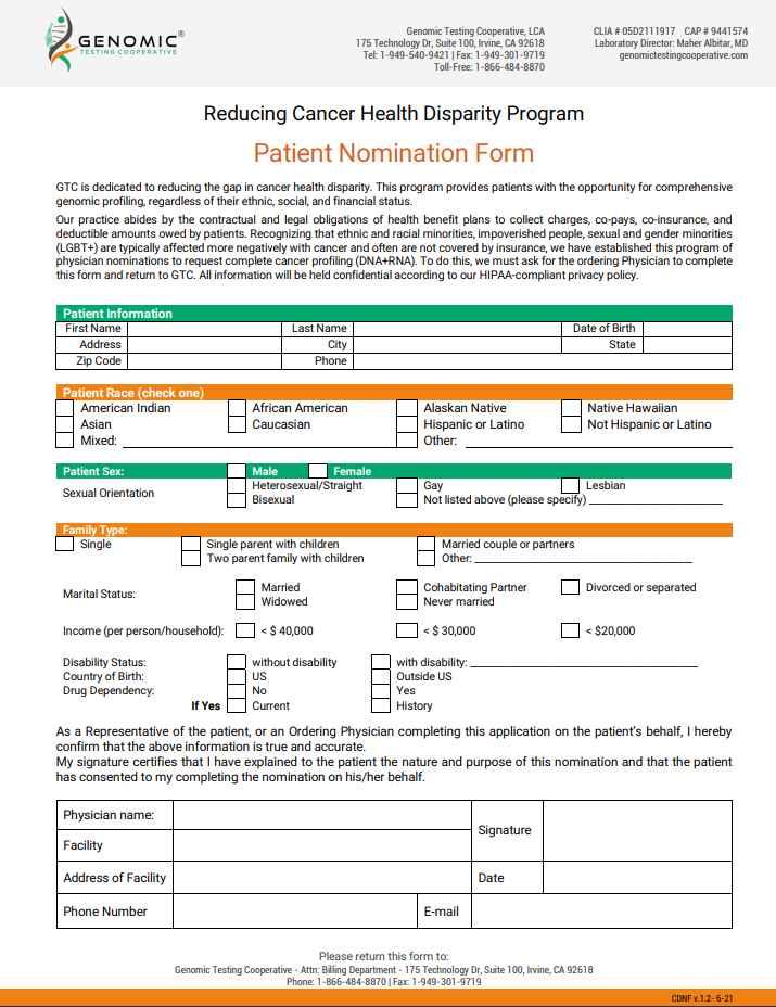 Cancer Disparity Patient Nomination Form